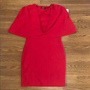 MISSGUIDED SZ 8 Red Deep Cut Mini Dress